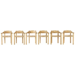 Set of Six Scandinavian Dining Room Chairs in Pine by Rainer Daumiller