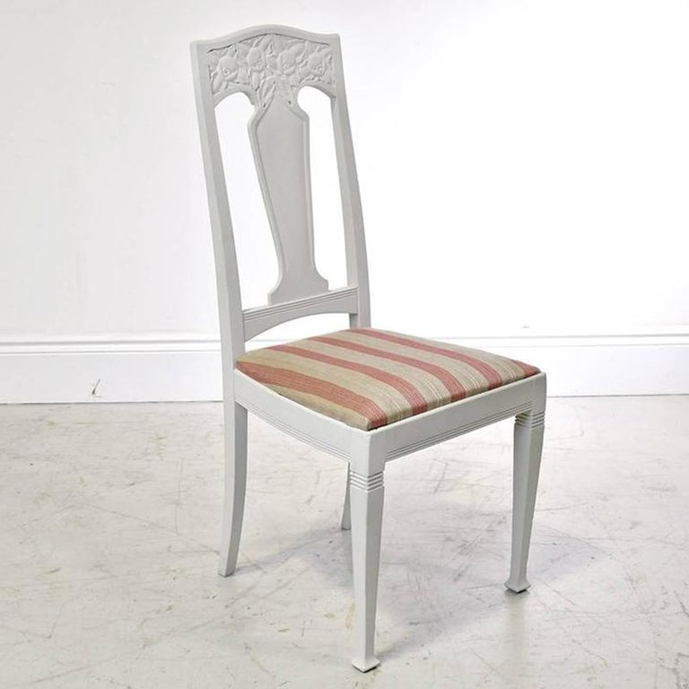 Carved Set of Six Scandinavian Jugendstil Dining Chairs with Upholstered Seats For Sale