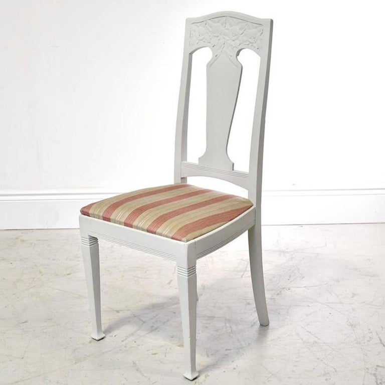 Set of Six Scandinavian Jugendstil Dining Chairs with Upholstered Seats In Good Condition For Sale In Miami, FL