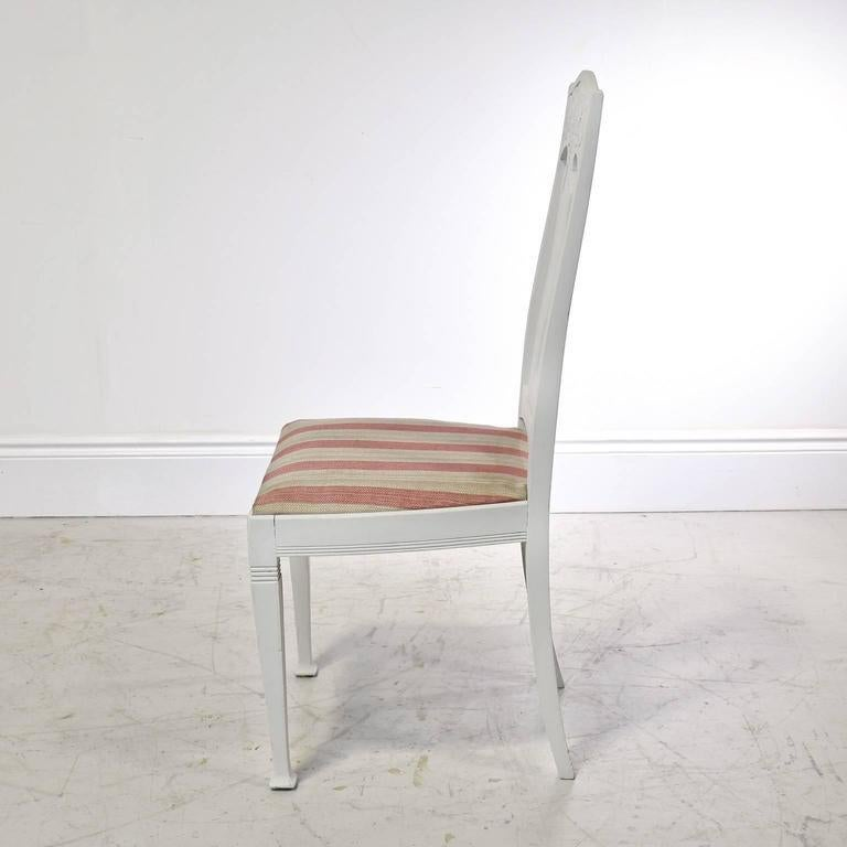 20th Century Set of Six Scandinavian Jugendstil Dining Chairs with Upholstered Seats For Sale