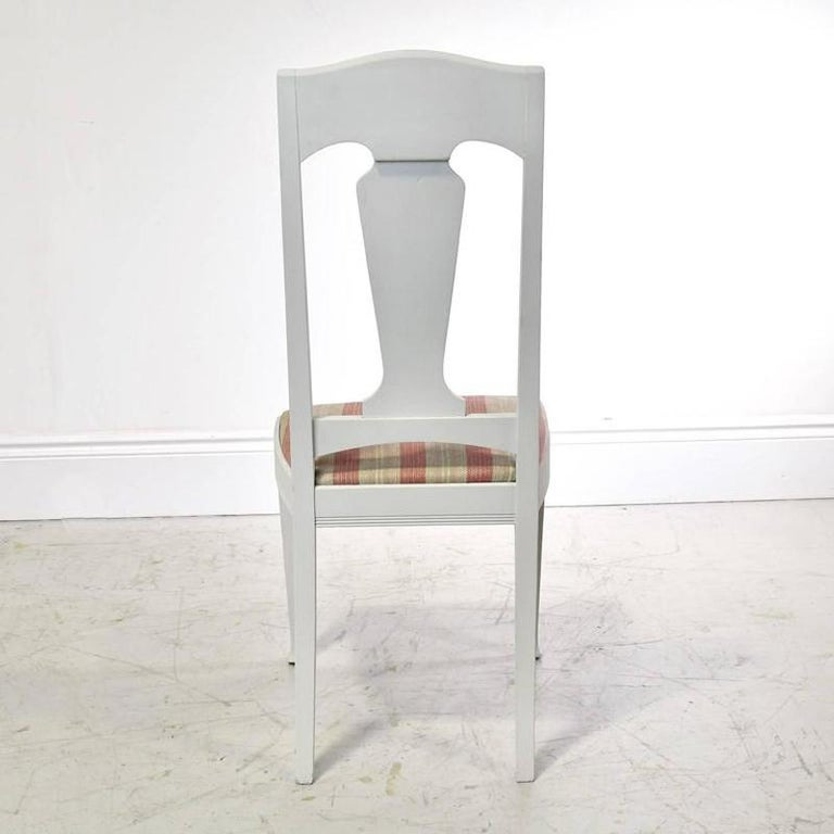 Wood Set of Six Scandinavian Jugendstil Dining Chairs with Upholstered Seats For Sale
