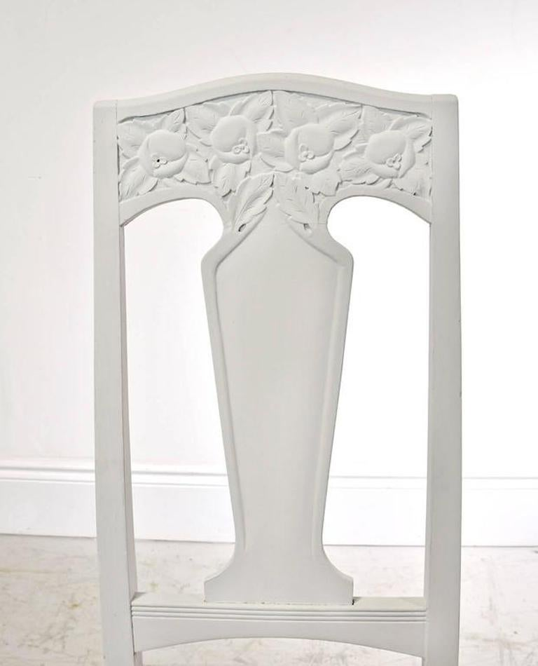 Set of Six Scandinavian Jugendstil Dining Chairs with Upholstered Seats For Sale 1