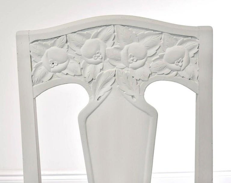 Set of Six Scandinavian Jugendstil Dining Chairs with Upholstered Seats For Sale 2