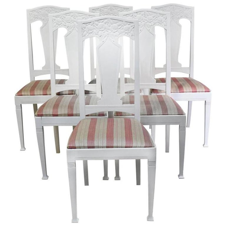 Set of Six Scandinavian Jugendstil Dining Chairs with Upholstered Seats For Sale