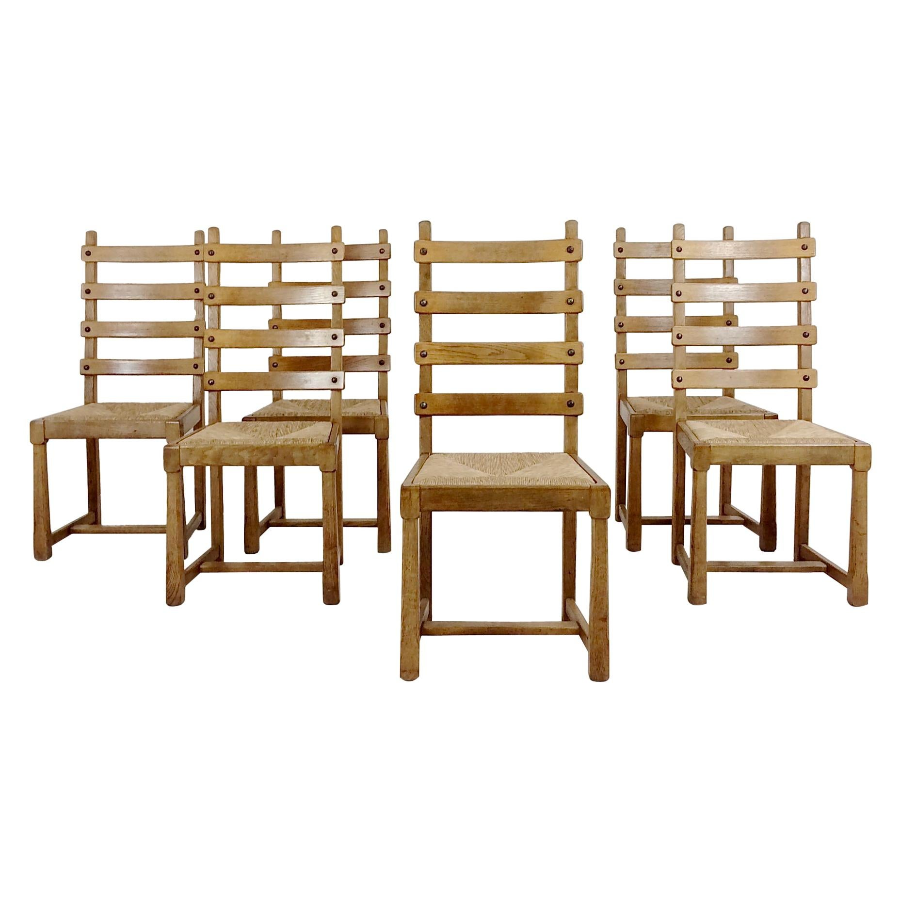 Set of Six Scandinavian Midcentury Oak and Straw Chairs, circa 1950