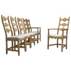 Set of Six Scandinavian Oak Dining Chairs, Scandinavia, circa 1950s