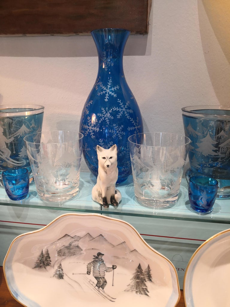 Hand-Crafted Set of Six Schnapps Glasses Blue with Skier Decor Sofina Boutique Kitzbuehel For Sale