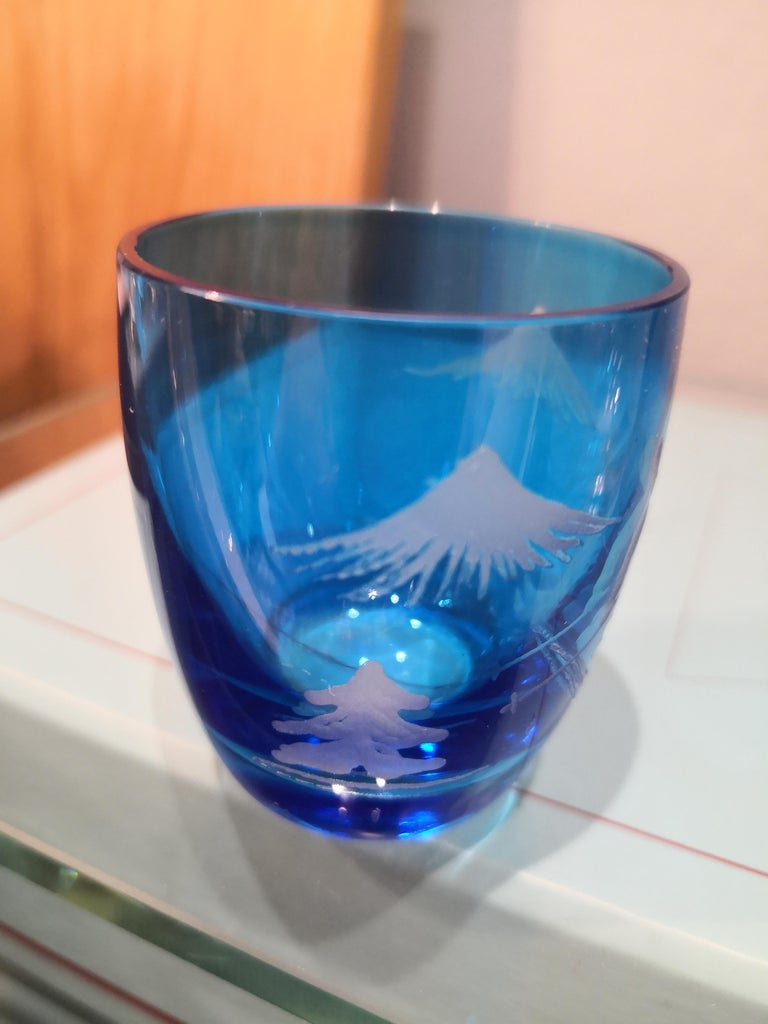 German Set of Six Schnapps Glasses Blue with Skier Decor Sofina Boutique Kitzbuehel For Sale