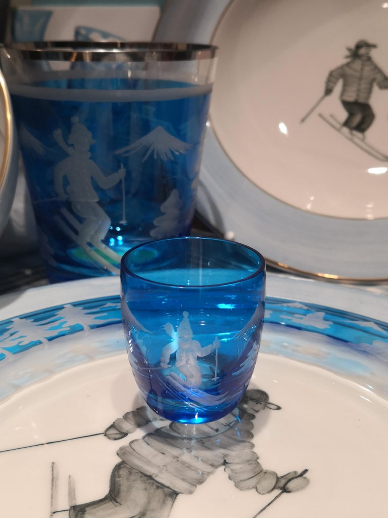 Set of Six Schnapps Glasses Blue with Skier Decor Sofina Boutique Kitzbuehel In New Condition For Sale In Kitzbuhel, AT