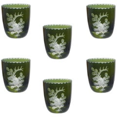 Set of Six Schnapps Glasses Green with Hunting Decor Sofina Boutique Kitzbuehel