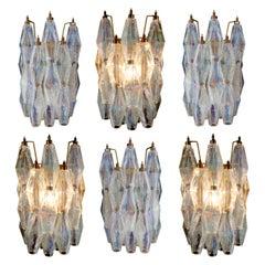 "Set of Six Sconces Iridescent Glass ""Poliedri"", Murano, 1970s"