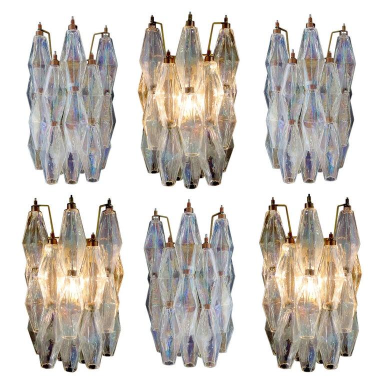 "Set of Six Sconces Iridescent Glass ""Poliedri"", Murano, 1970s For Sale"