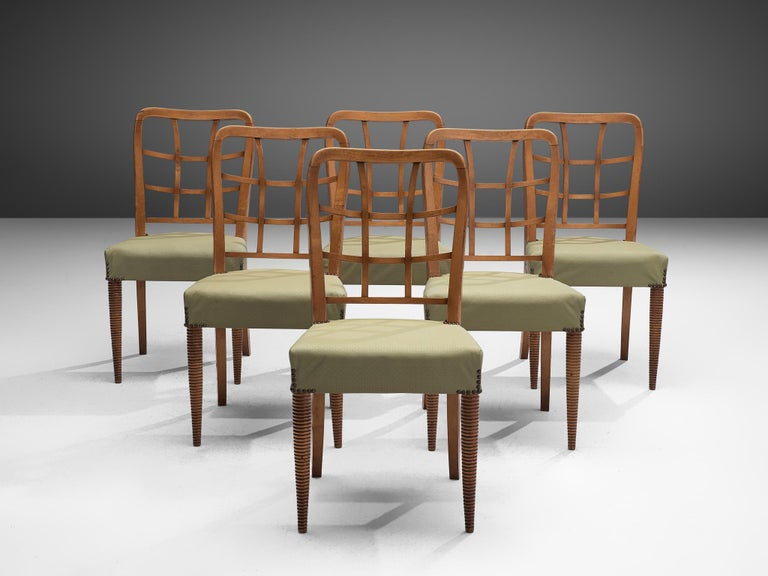 Mid-Century Modern Set of Six Sculptural Italian Dining Chairs For Sale
