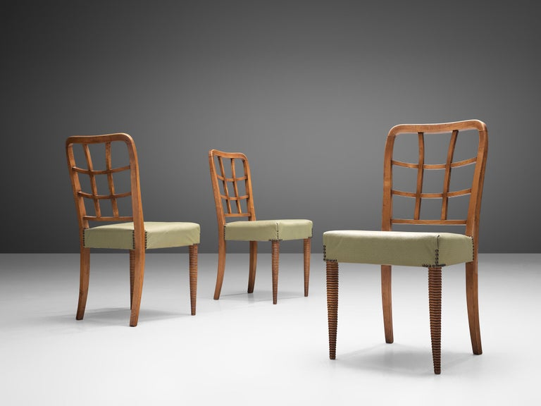 Mid-20th Century Set of Six Sculptural Italian Dining Chairs For Sale