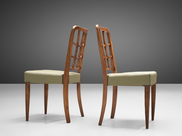 Faux Leather Set of Six Sculptural Italian Dining Chairs For Sale