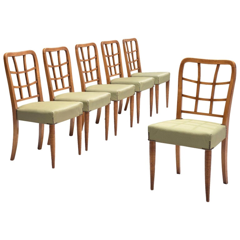 Set of Six Sculptural Italian Dining Chairs For Sale