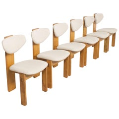 Set of Six Sculptural Italian Dining Chairs in Oak and Beige Fabric, 1960s