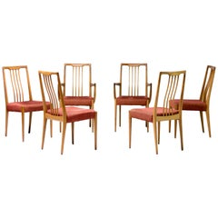 Set of Six Sculptural Walnut Dining Chairs, Italy, 1950