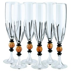 Set of Six Seguso Murano Glass Flute with Black Canne and Amber Steam Detail