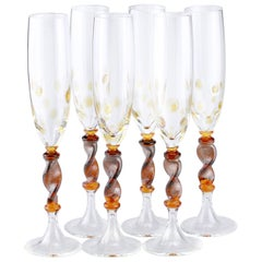 Set of Six Seguso Murano Glass Goblets with Amber Steam and Murrine