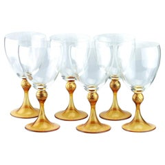 Set of Six Seguso Murano Glass Goblets with Amber Steam