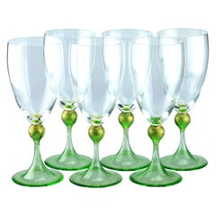 Set of Six Seguso Murano Glass Goblets with Green Steam