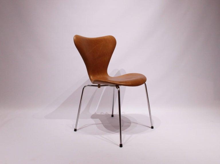 Scandinavian Modern Set of Six, Seven Chairs Model 3107 by Arne Jacobsen and Fritz Hansen For Sale