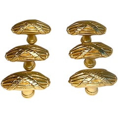 Set of Six Sherle Wagner Ribbon and Reed Cabinet Drawer Pulls