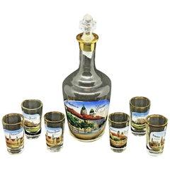 Set of Six Shot Glasses and Liqueur Bottle Antique German Souvenir Dresden