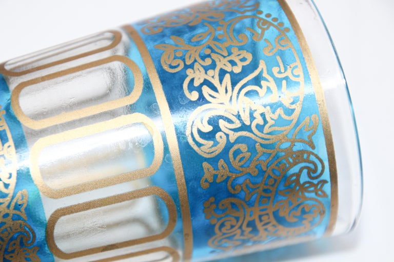 Set of Six Shot Glasses with Gold Raised Moorish Design For Sale 7