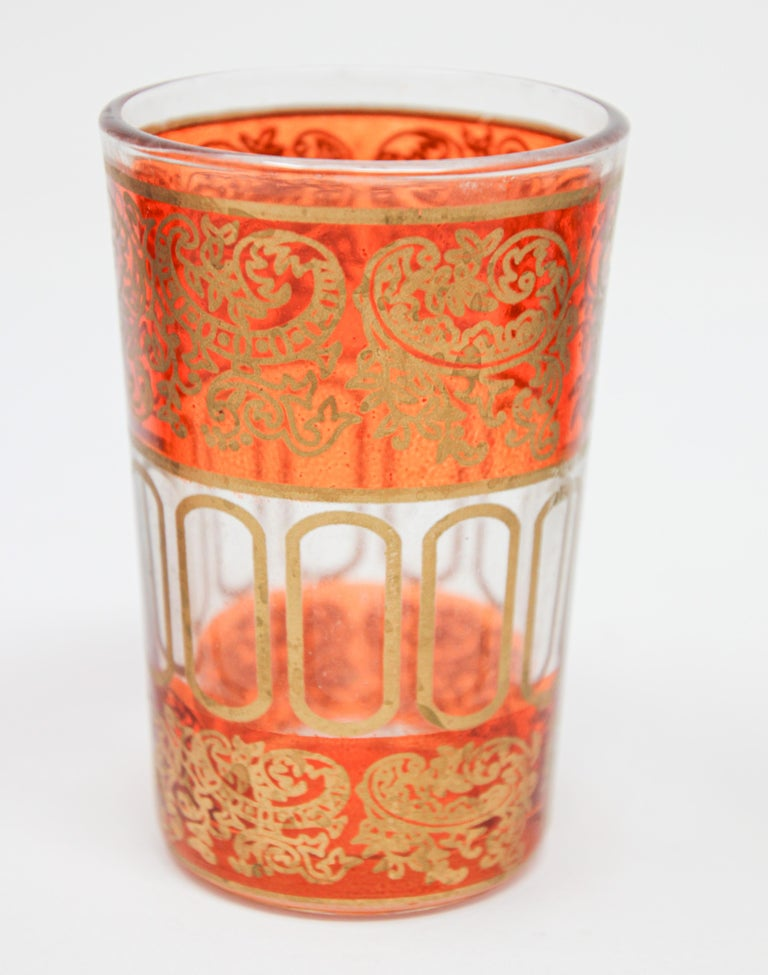 20th Century Set of Six Shot Glasses with Gold Raised Moorish Design For Sale