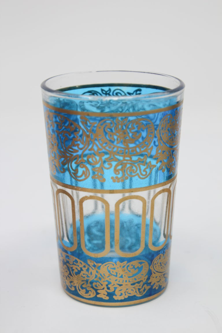 Set of Six Shot Glasses with Gold Raised Moorish Design For Sale 2