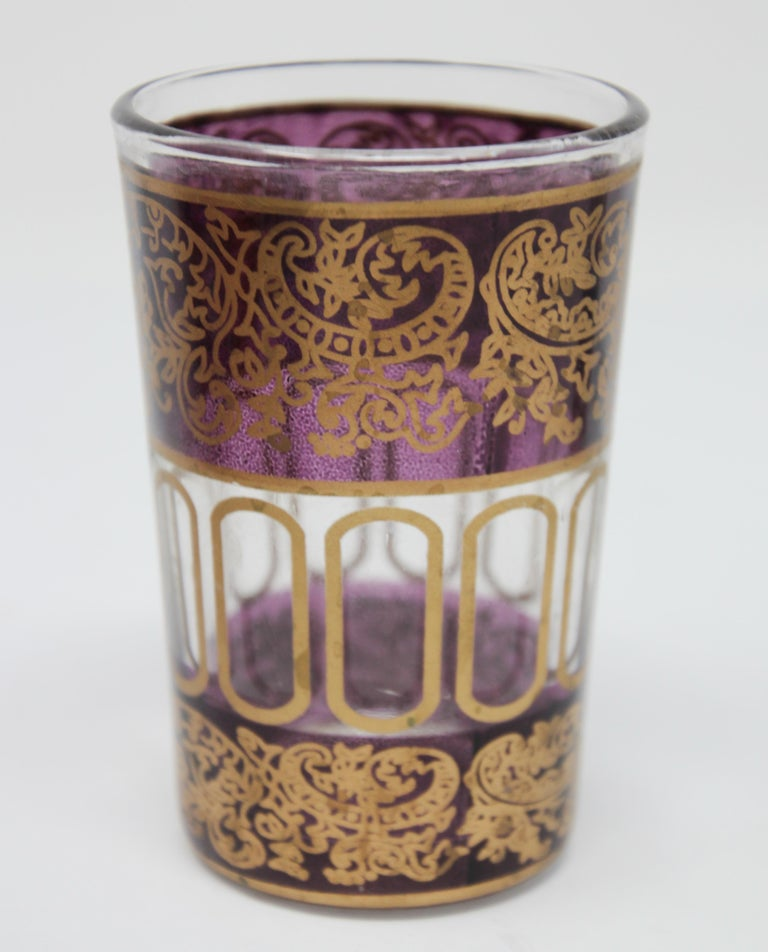 Set of Six Shot Glasses with Gold Raised Moorish Design For Sale 3