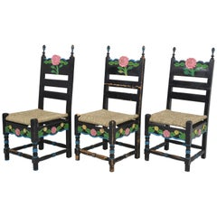 Set of Six Sicilian Painted Rustic Chairs, circa 1950