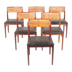 Set of Six Side Chairs in Teak and Cane by Wørts, Danish Design, 1950s