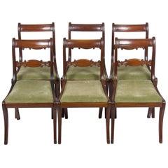 Set of Six Side Regency Mahogany Dining Room Chairs