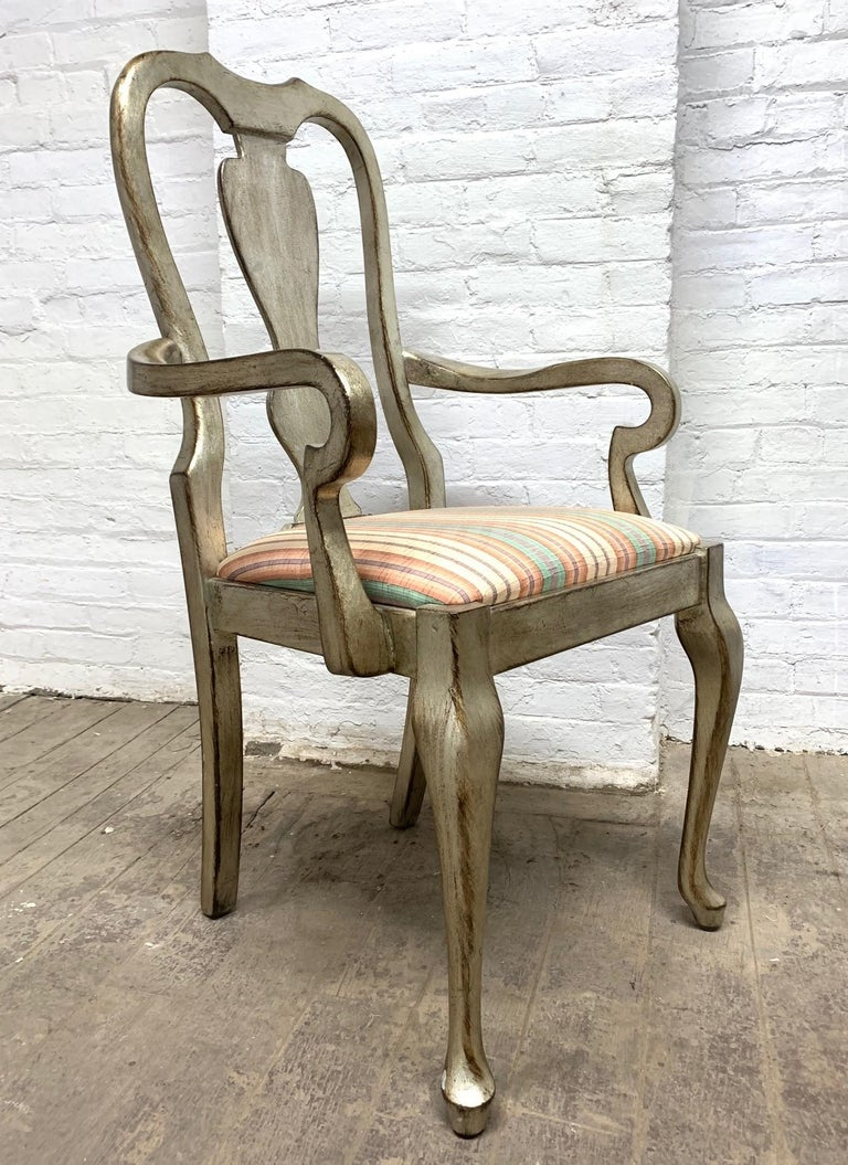 Queen Anne Set of Six Silver Leaf Dining Chairs For Sale