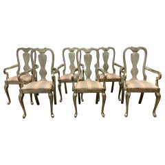 Set of Six Silver Leaf Dining Chairs