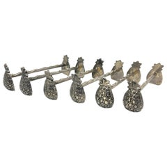 Set of Six Silver Plated Pineapple Motif Knife Rests