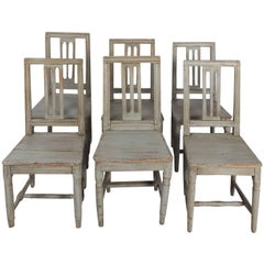 Set of Six Similar Painted Pinewood Chairs