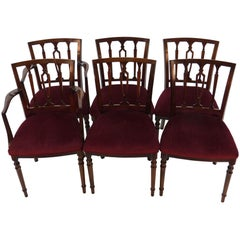 Set of Six Small Regency Style Mahogany Dining Room Chairs