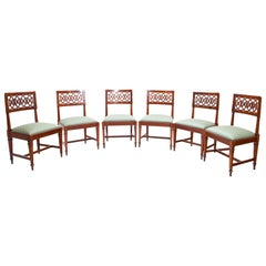 Set of Six Solid Cherrywood Chairs, Lucca Italy, Late 18th Century