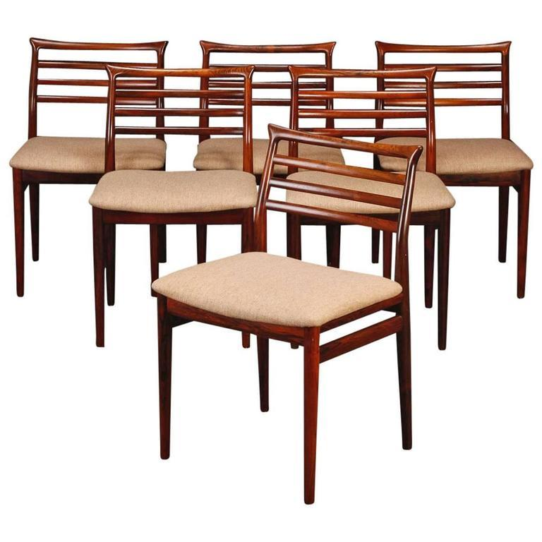 Danish Set of Six Solid Hardwood Dining Chairs by Erling Torvits For Sale