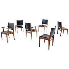 Set of Six Solid Teak Black Vinyl Seat & Back Danish Modern Dining Chairs