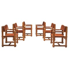 Set of Six Spanish Armchairs in Pine and Cognac Leather by Joan Pou