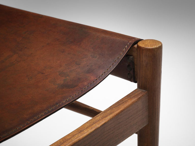 Mid-20th Century Set of Six Spanish Dining Chairs in Oak with Saddle Leather For Sale