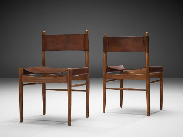 Set of Six Spanish Dining Chairs in Oak with Saddle Leather For Sale 1