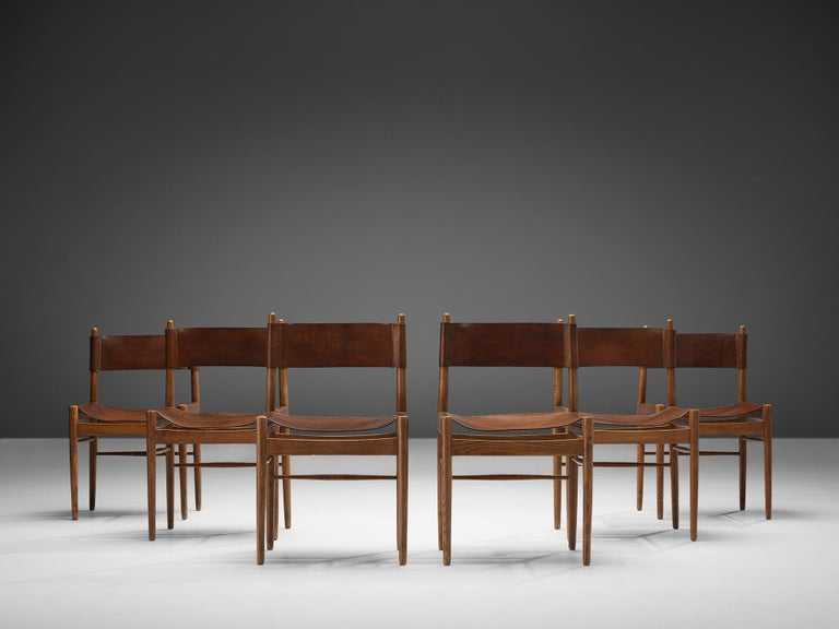 Set of Six Spanish Dining Chairs in Oak with Saddle Leather For Sale 3