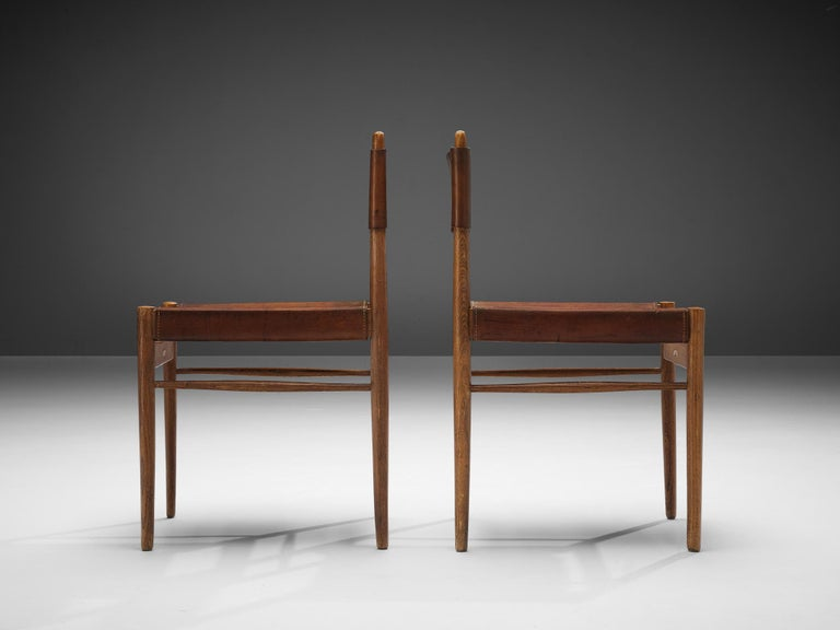 Set of Six Spanish Dining Chairs in Oak with Saddle Leather For Sale 4