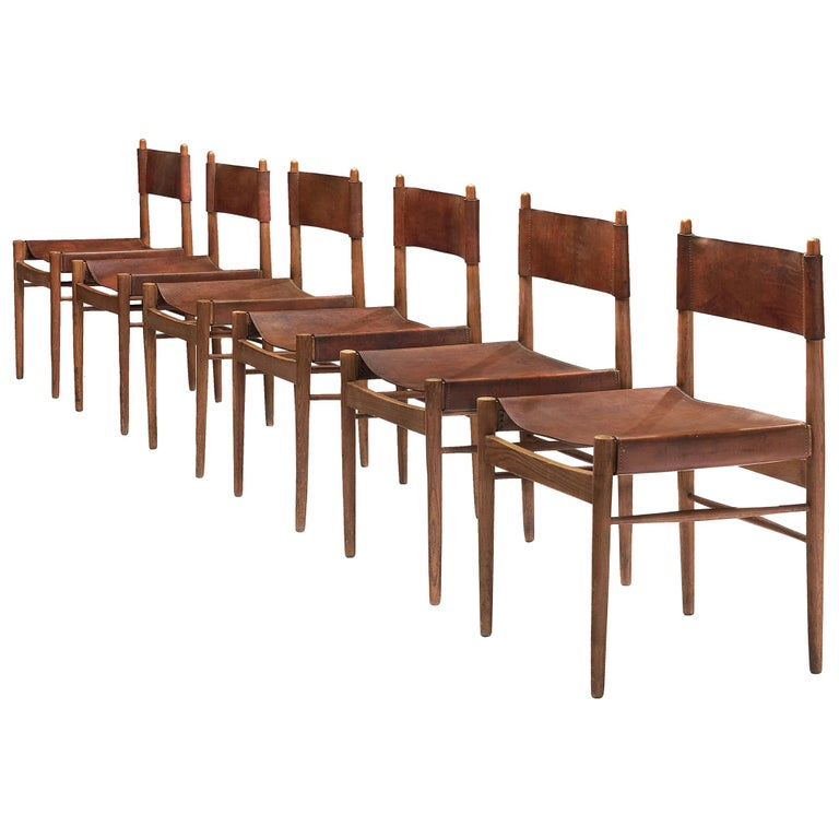 Set of Six Spanish Dining Chairs in Oak with Saddle Leather For Sale